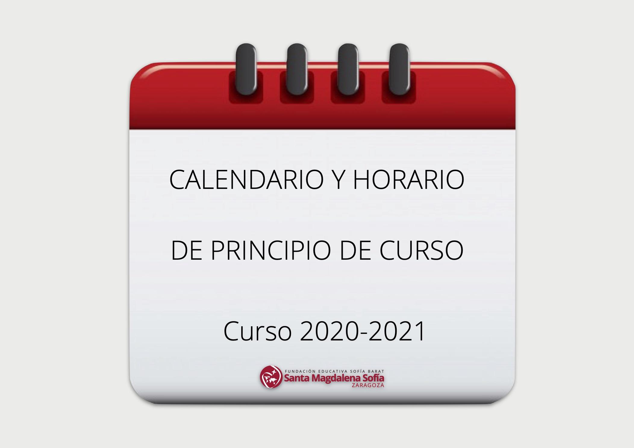 Calendario y horario de principio de curso